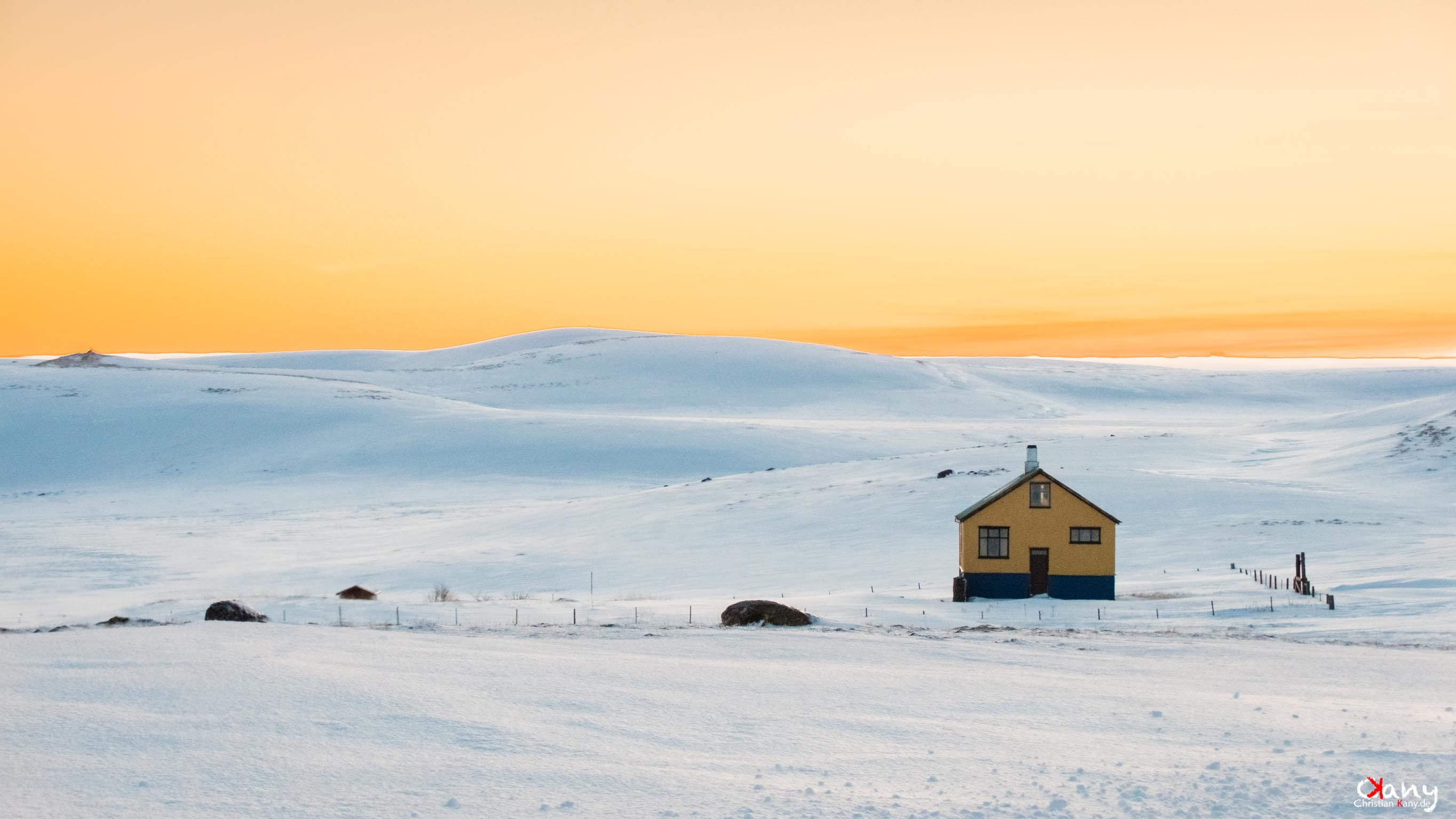 House in in sunrise Iceland