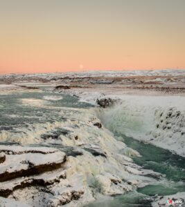 Moonrise at sunset over Gullfoss